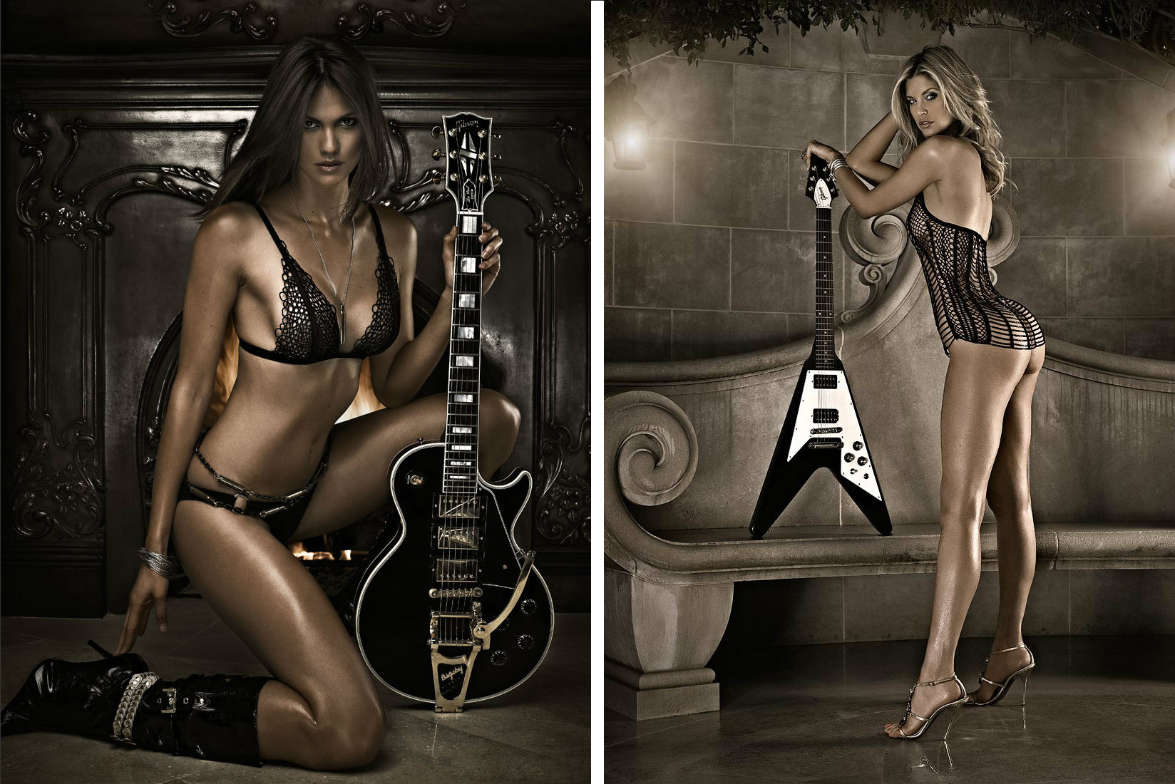 sexy girl with classic vintage guitar photographed by Vancouver editorial glamour photographer Waldy Martens